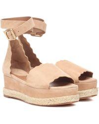Chloé Lauren Suede Platform Sandals - Natural