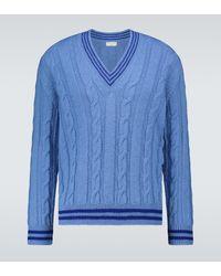 Dries Van Noten Pullover aus Wolle mit Zopfmuster - Blau