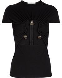 Christopher Esber Cutout Ribbed-knit T-shirt - Black