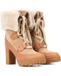See By Chloé - Ankle Boots Verena aus Veloursleder - Lyst