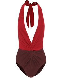Self-Portrait Colorblocked One-piece Swimsuit - Red