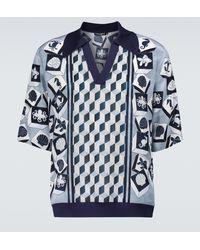 Dolce & Gabbana Bedrucktes Kurzarmhemd aus Seide - Blau