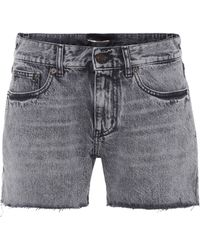 Saint Laurent - High-waisted Denim Cut-off Shorts - Lyst