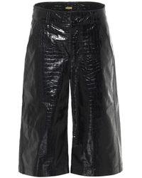 Dodo Bar Or Jupe-culotte en cuir embossé - Noir