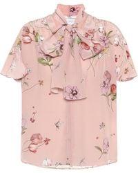 Giambattista Valli Floral Silk Crêpe Blouse - Pink