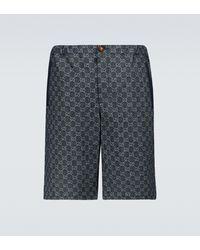 Gucci Short en jean GG - Bleu