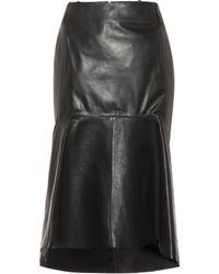 Balenciaga Peplum-hem Leather Skirt - Black