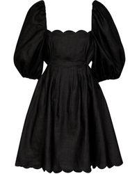 Zimmermann Minikleid aus Leinen - Schwarz