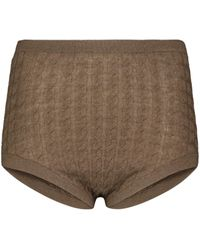 Totême Cable-knit Wool-blend Knickers - Brown