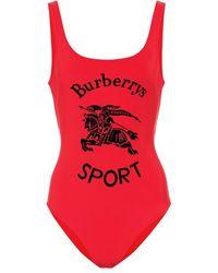 Burberry Costume intero con logo - Rosso
