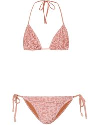 Zimmermann Exclusivo en Mytheresa - bikini con print de leopardo - Rosa