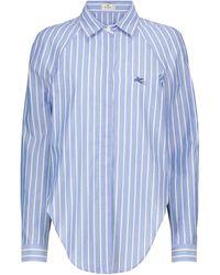 Etro Chemise rayée en coton - Bleu