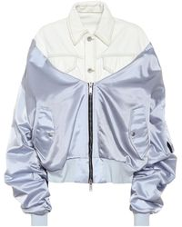 Unravel Project Denim And Satin Bomber Jacket - Gray