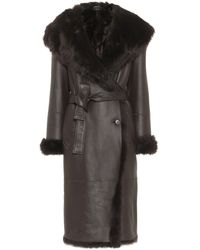 JOSEPH Cree Shearling-trimmed Leather Coat - Brown