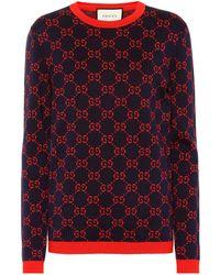 Gucci Intarsia Cotton Sweater - Blue