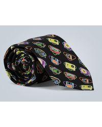 Prada Cravate en soie imprimée rétro - Noir