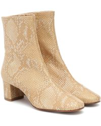 BY FAR Sofia Leather Ankle Boots - Natural