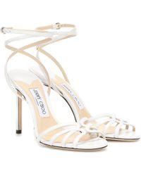 Jimmy Choo Sandalen Mimi 100 aus Leder - Weiß