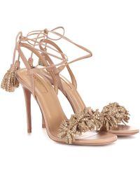 Aquazzura Wild Crystal 105 Leather Sandals - Pink