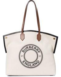 Burberry Shopper Society aus Canvas - Natur