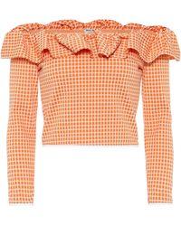 Miu Miu Stretch Check Ruffled Off Shoulder Top - Orange
