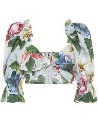 Dolce & Gabbana Floral Cotton Poplin Crop Top - Green