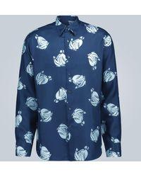 Lanvin Bedrucktes Hemd aus Seide - Blau
