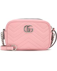 Gucci GG Marmont Leather Cross-body Bag - Pink