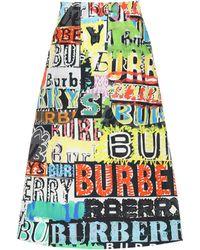 Burberry - Logo Print Cotton Skirt - Lyst