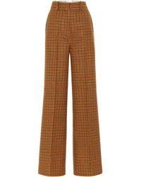 Khaite Bernadette Gingham Wool Felt Pants - Orange