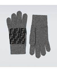 Fendi Handschuhe FF aus Wolle - Grau