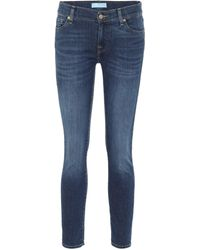 7 For All Mankind Roxanne Mid-rise Skinny Jeans - Blue