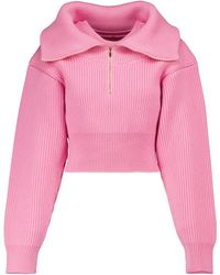 Jacquemus Pullover cropped Risoul in lana - Rosa