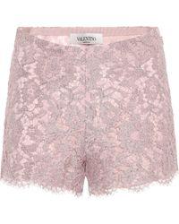 Valentino Shorts de encaje - Rosa