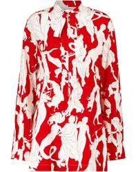 Valentino Blusa in seta stretch con stampa - Rosso