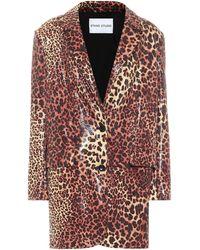 Stand Studio Juniper Leopard-print Faux Leather Blazer - Brown
