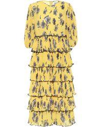 Ganni Exclusivo en Mytheresa - Vestido midi de crepé floral - Amarillo