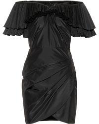 Alessandra Rich - Vestido corto de seda con volantes - Lyst