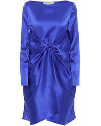 BERNADETTE Vestido Judy de satén de seda - Azul