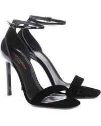 Saint Laurent Amber Velvet And Patent Leather Sandals - Black