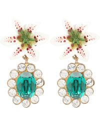 Dolce & Gabbana Lilium Gold-tone, Resin And Crystal Clip Earrings - Green