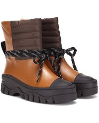 Ganni Leather Ankle Boots - Brown