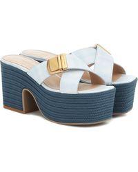 Jacquemus 'les Tatanes' Wedge Mules Cream - Blue