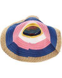 Missoni Sombrero de paja a rayas - Azul