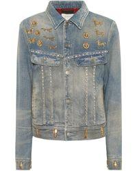 448128083db Lyst - Veste en jean à ornements Gucci en coloris Bleu