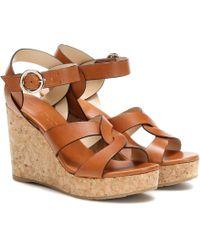 Jimmy Choo Aleili 100 Leather Wedge Sandals - Brown