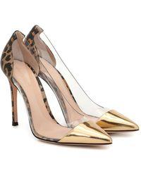 Gianvito Rossi Plexi 105 Pvc And Leather Court Shoes - Metallic