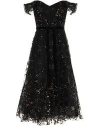 Marchesa notte Off Shoulder Glitter Tulle Midi Gown - Black