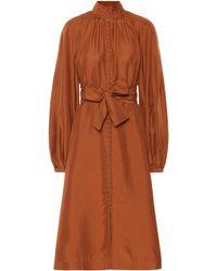 Zimmermann Ninety-six Billow Silk Dress - Brown