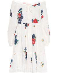 Tory Burch Besticktes Kleid aus Baumwolle - Weiß